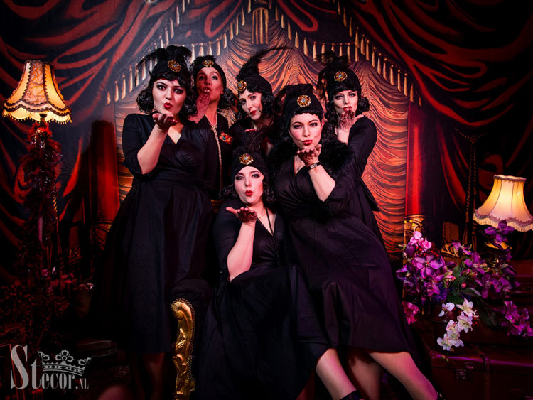 dress up and get photographed at the Burlesque Circus photobooth by Stecor Photography