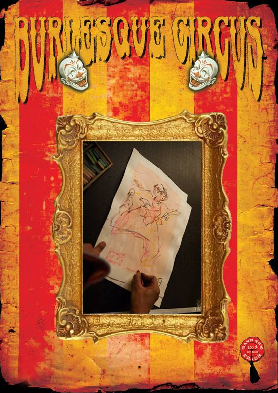 "At the International Burlesque Circus in Utrecht: live drawings by Koes Komo: Born on Java, (1980) Koes ""Komo"" Hatmoko studied Graphic Art and started his career as a multiple award winning mural artist. Komo works as a freelance designer, children's book illustrator, cartoonist and caricaturist. Komo is always looking for different takes on reality and an original view on current events, never losing touch with his sense of humor and inner child. Colourful paintings and playful drawings are Komo's trademark, and they are appreciated by the young and the old(ish) alike"