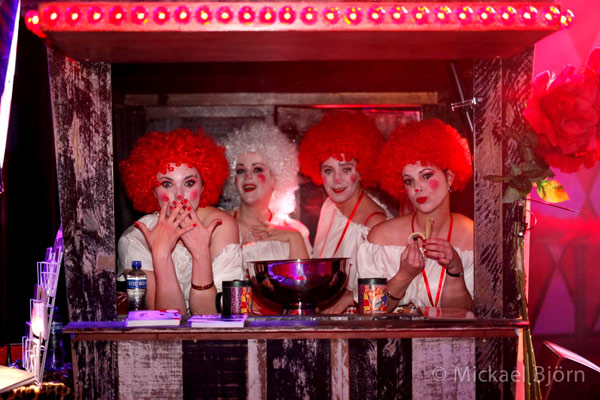 charity girls for the NKI AVL donation at the International Burlesque Circus- the Freaks & Geeks edition