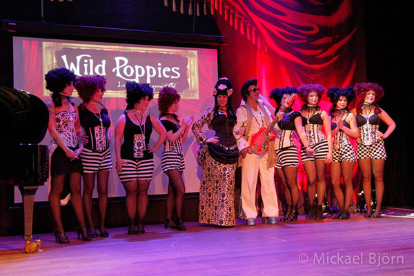 Wild Poppies designs  at the International Burlesque Circus - the Wicked Wedding edition