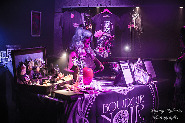 Boudoir Noir merchandise at the Outer Space edition of the International Burlesque Circus in Utrecht