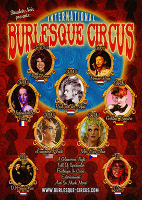 the MAsquerade edition of the International Burlesque Circus in Utrecht, presnted by Boudoir Noir
