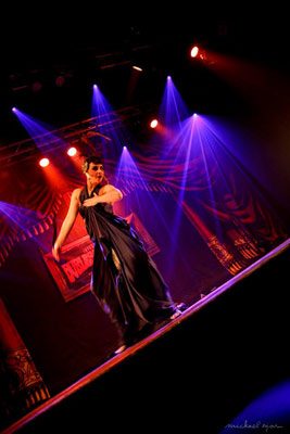 Impression of the burlesqueshow by Colette Collerette at the 24th edition of the International Burlesque Circus - the Monsters In Pyjamas edition 2018 produced by Boudoir Noir Production at De Helling in Utrecht