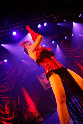Impression of the burlesqueshow by Natsumi Scarlett at the 24th edition of the International Burlesque Circus - the Monsters In Pyjamas Halloween edition 2018 produced by Boudoir Noir Production at De Helling in Utrecht