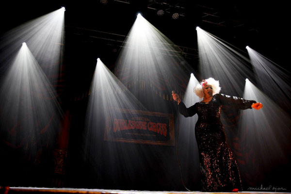 Impression of tMiss Peggy Lee Cooper at the 24th edition of the International Burlesque Circus - the Monsters In Pyjamas Halloween edition 2018 produced by Boudoir Noir Production at De Helling in Utrecht