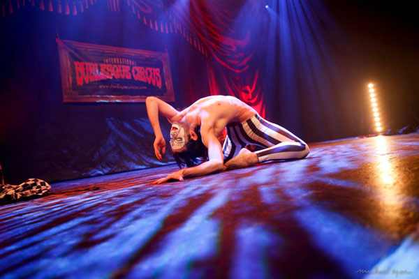 Impression of the boylesqueshow by John Celestus at the 24th edition of the International Burlesque Circus - the Monsters In Pyjamas Halloween edition 2018 produced by Boudoir Noir Production at De Helling in Utrecht