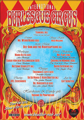 The International Burlesque Circus sold out 3rd edition - Heaven & Hell 11 February 2012 - lineup