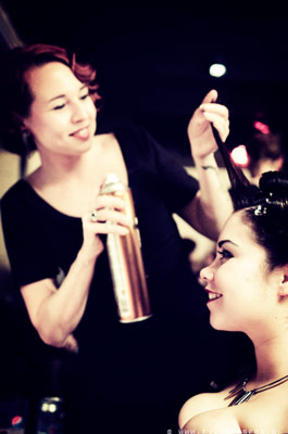 vintage hairstyling by Madame De Pompadour at The International Burlesque Circus - The Glamour edition