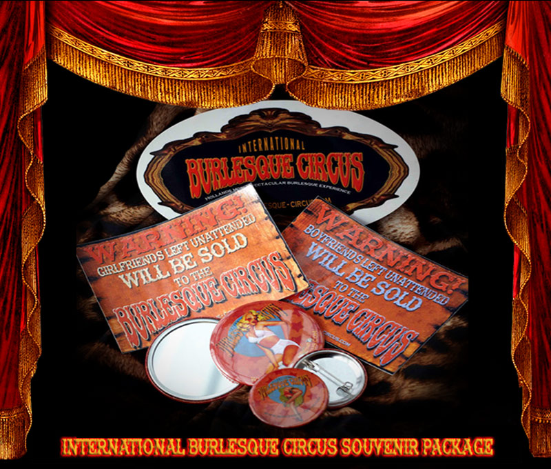 The International Burlesque Circus Pin-Up Souvenir Package with stickers, button and pocket mirror