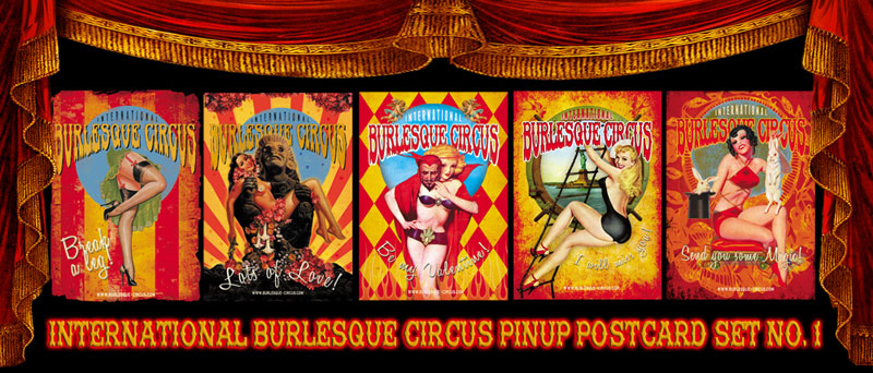 International Burlesque Circus Vintage Retro 50 Pinup postcard set No.1