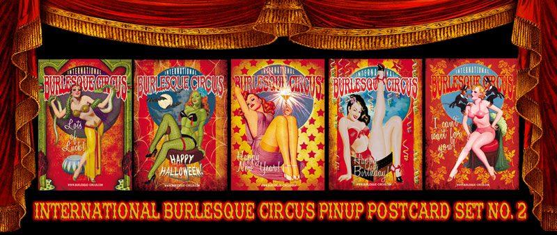 International Burlesque Circus Vintage 50s Pin-Up Postcard Set No. 2